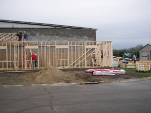 Several FCT employees help the crew with trusses, including our own President and CEO.