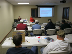 We are putting the new space to good use.  This photo was taken during a training class at our 2013  Safety Meeting.